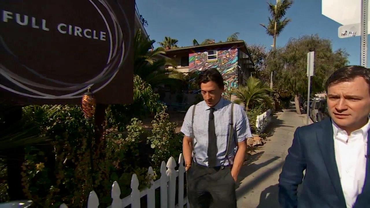 Andrew Keegan walks with Nightline anchor Dan Harris outside Full Circle Venice.