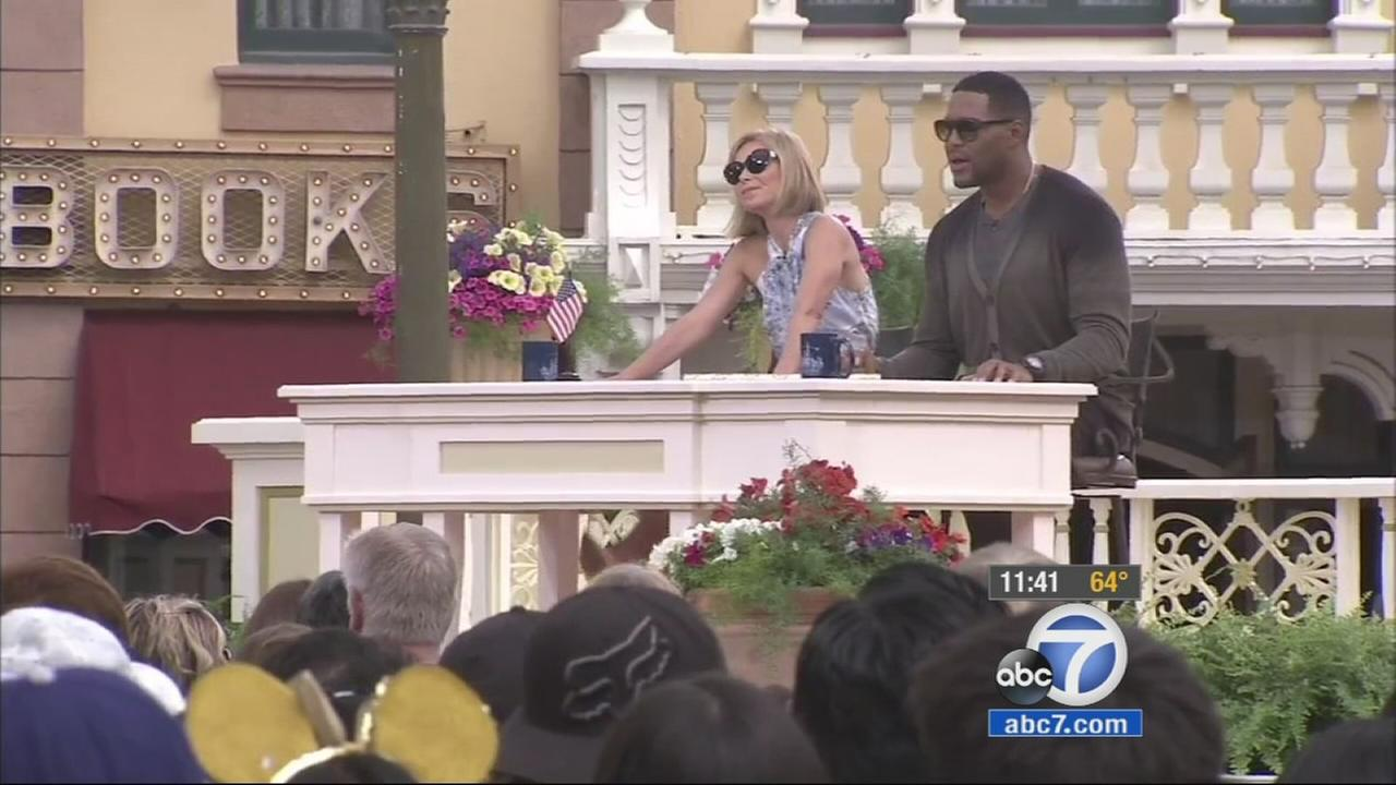 Kelly Ripa and Michael Strahan host their show from Main Street in Disneyland on Monday, May 18, 2015.