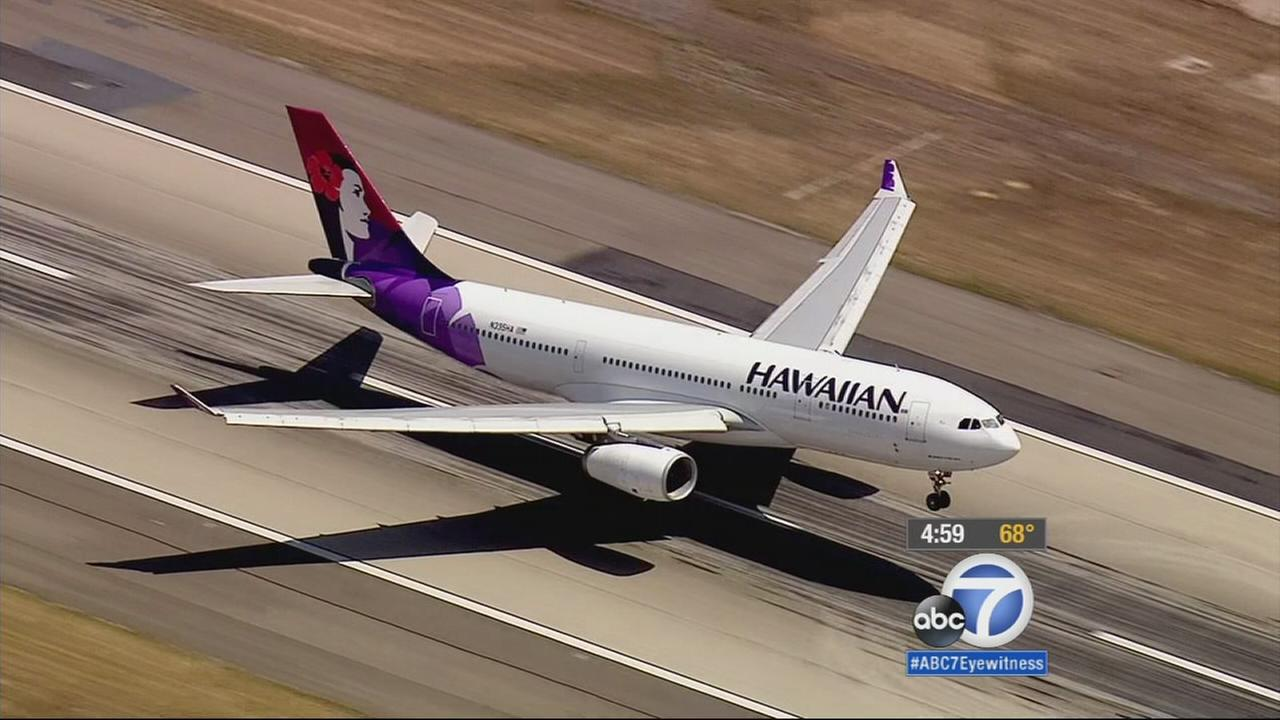 A Hawaiian Airlines plane made an emergency landing at LAX on Monday, May 18, 2015.