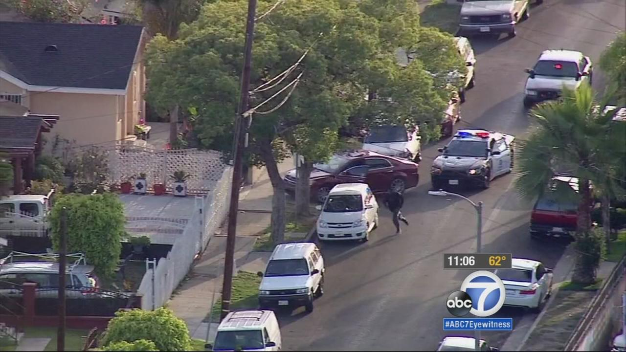 Suspects fled from police after leading them on a high-speed chase through South Los Angeles on Monday, May 18, 2015.