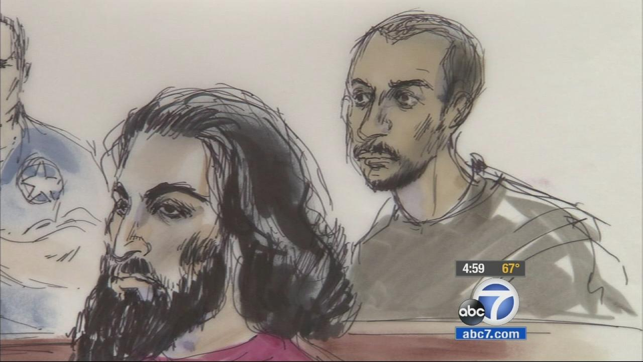 Muhanad Badawi, 24, and Nader Elhuzayel, 24, both of Anaheim, appear in court on Friday, May 22, 2015, in these sketches by Mona S. Edwards.