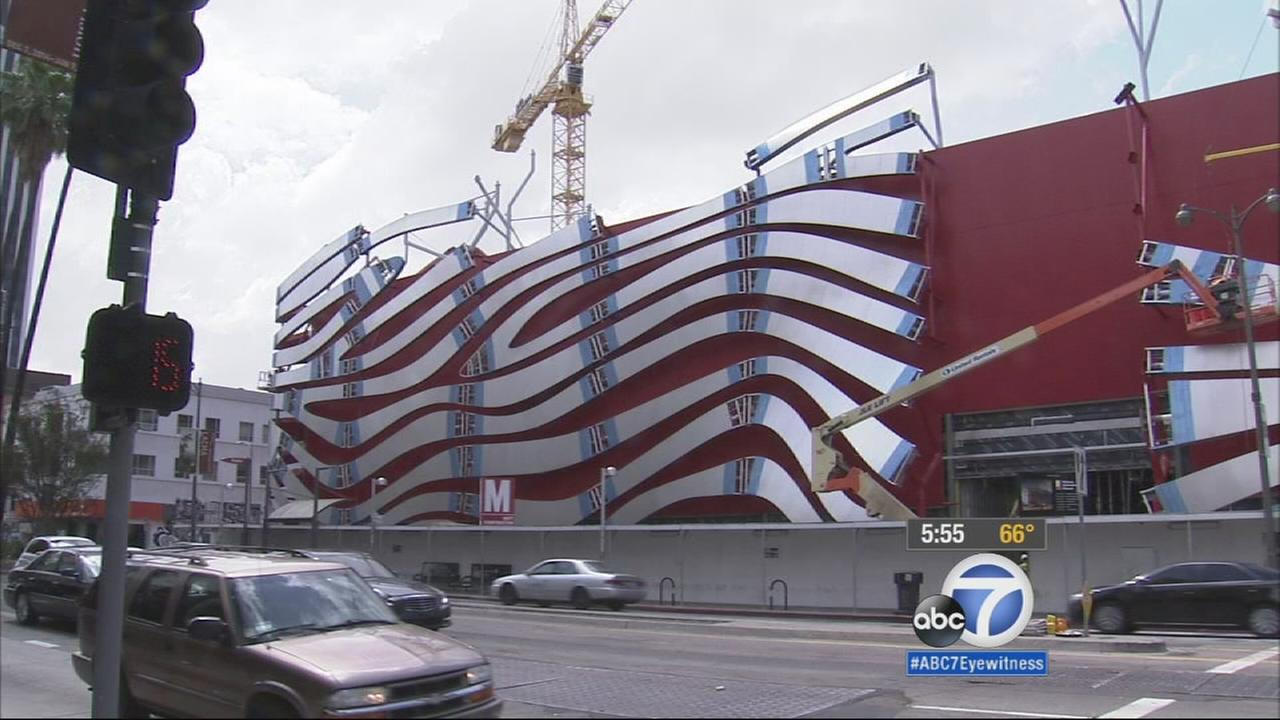 The metal that will be covering the front end of the Petersen Automotive Museum is shown.