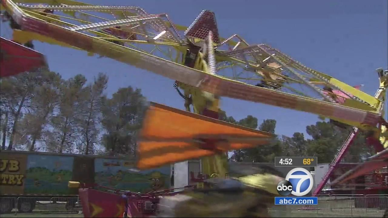 A carnival ride is shown at the San Bernardino County Fair in Victorville on Monday, May 25, 2015.