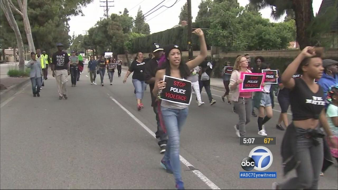 Black Lives Matter protesters stages six simultaneous protests Monday morning.