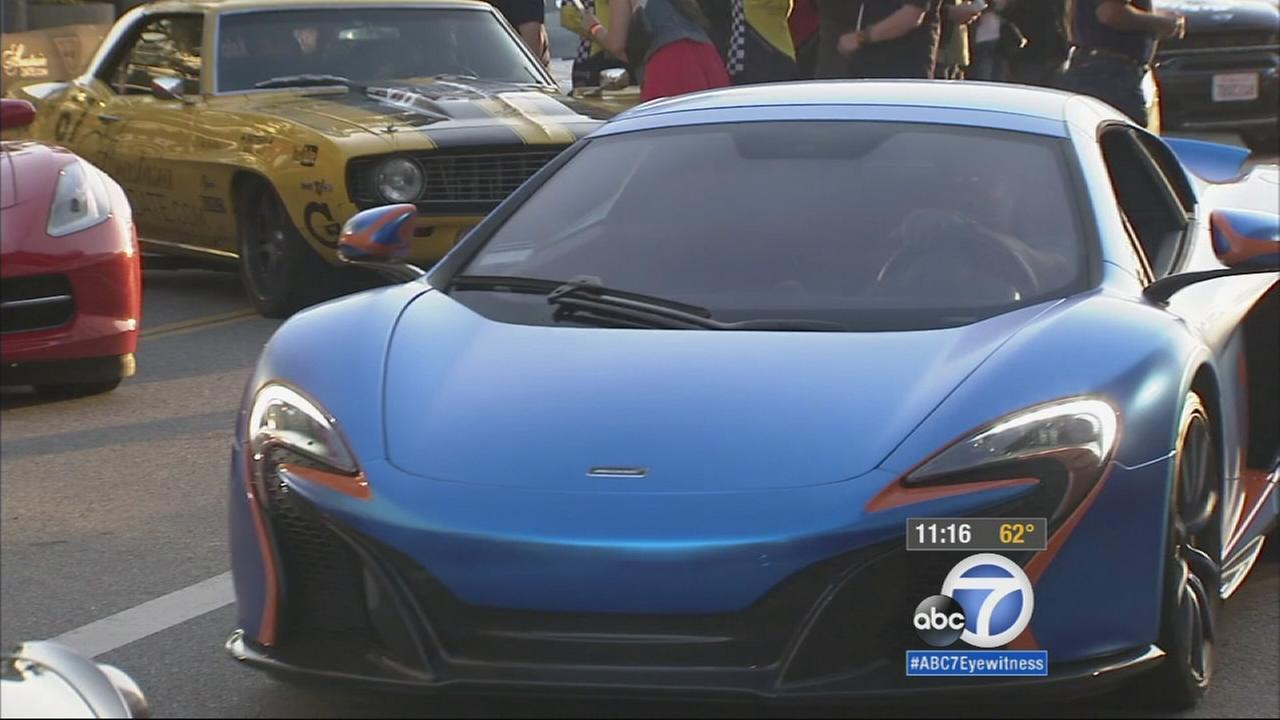 The Gumball Rally, an annual British 3,000-mile international motor rally, made its way from Europe to downtown Los Angeles Thursday night.