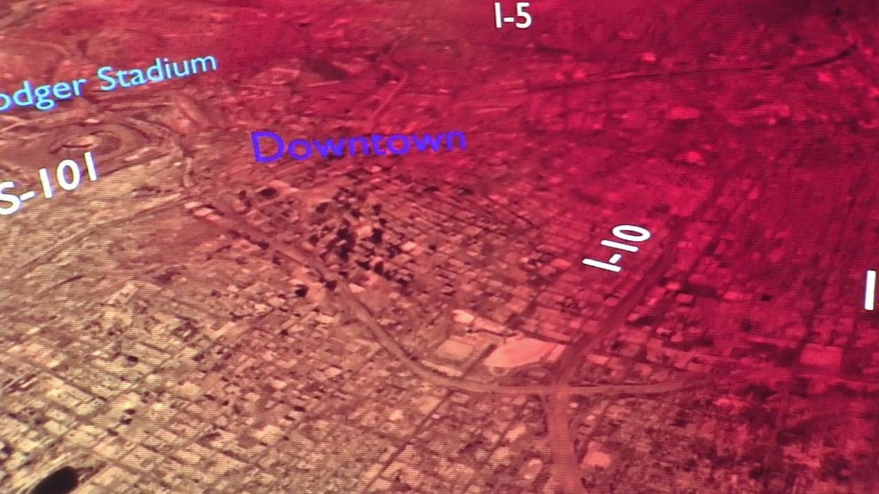 A simulation of a large earthquake hitting Los Angeles is shown during a meeting at Caltech on Friday, May 29, 2015.
