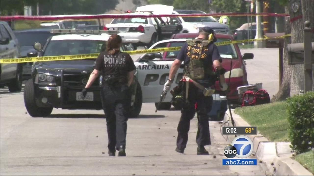Police investigate a homicide in Arcadia after a man was shot to death in the 1000 block of South 5th Avenue on Sunday, May 31, 2015.