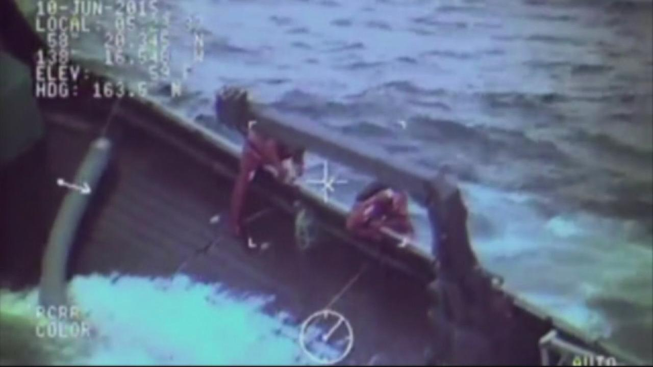 Coast Guard rescuers saved the crew of a sinking fishing boat off the coast of Alaska, and the dramatic rescue was all caught on camera.