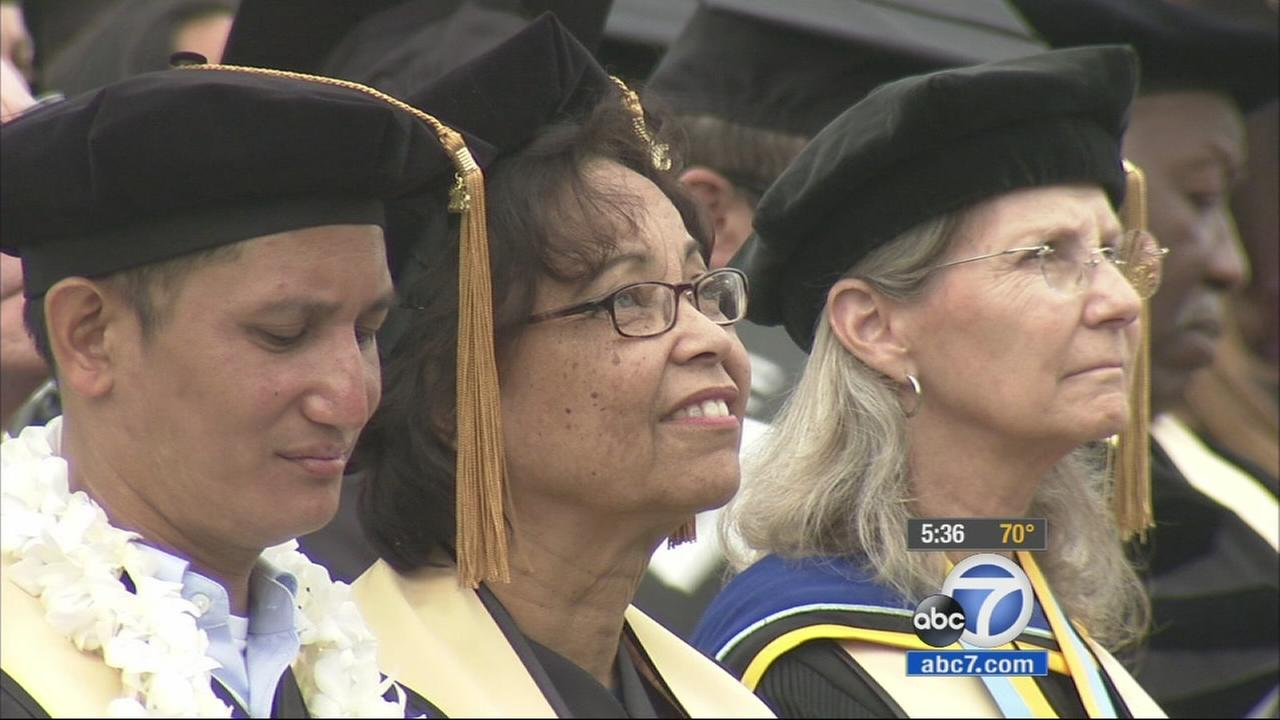 A 71-year-old grandmother graduated Friday from Cal State Los Angeles, and it wasnt her first time.