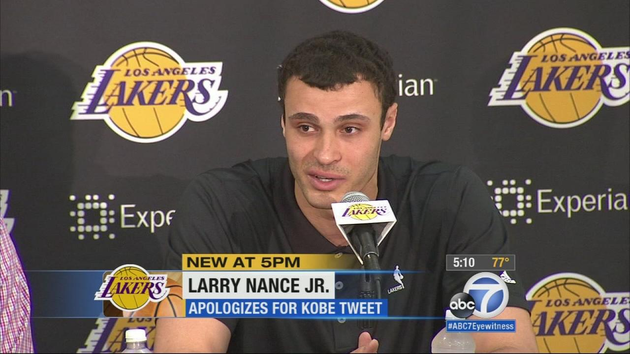 Lakers draft pick Larry Nance Jr apologizes for Kobe tweet