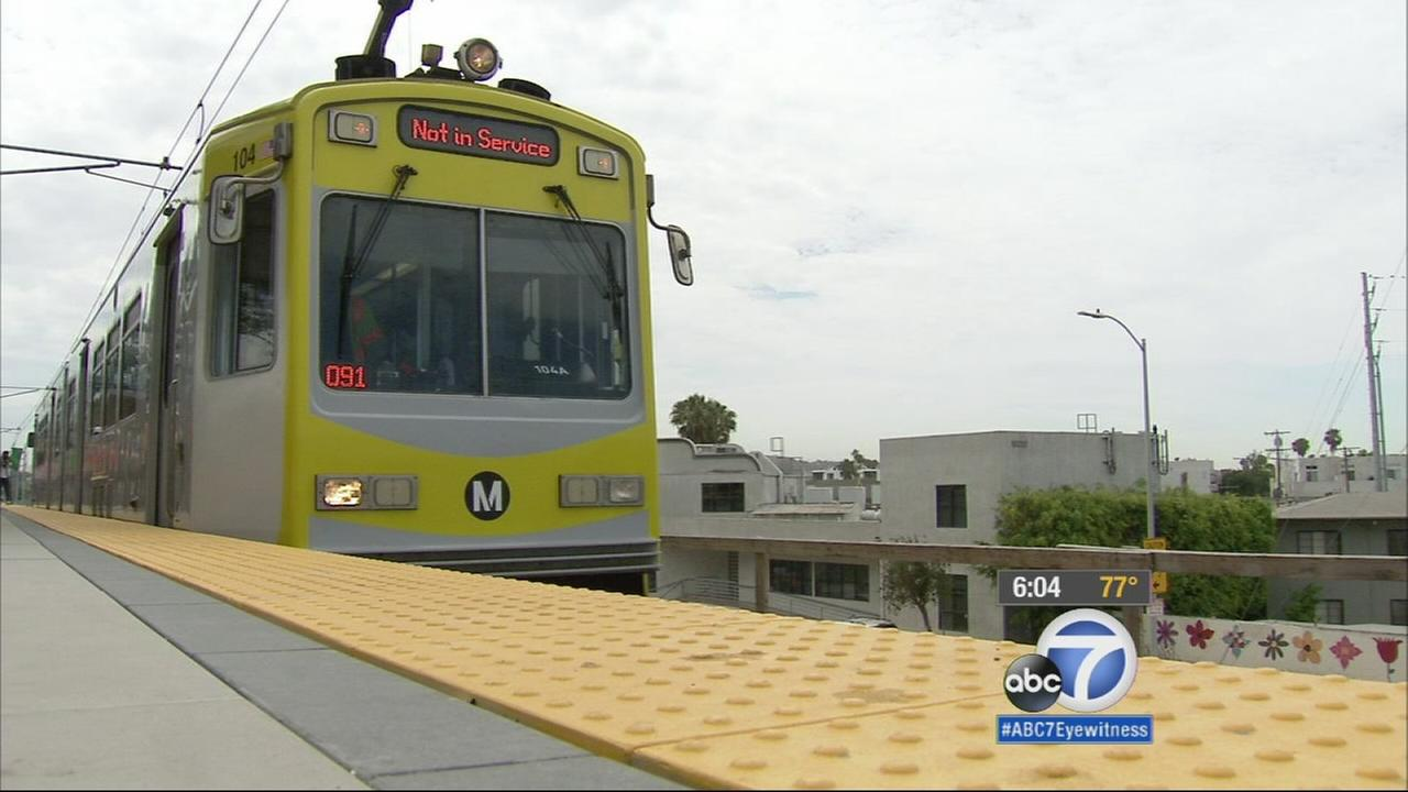 Los Angeles city and county officials celebrated another milestone Monday, as a train pulled in to the newly built Palms station in Metros Expo Line extension.