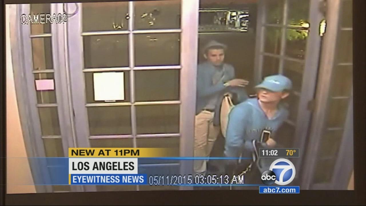 Surveillance video caught two burglars ransacking mailboxes and vehicles inside an apartment building near Beverly Center.