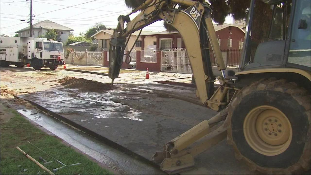 Crews are cleaning up and making repairs Tuesday morning after three water pipes burst in Los Angeles.
