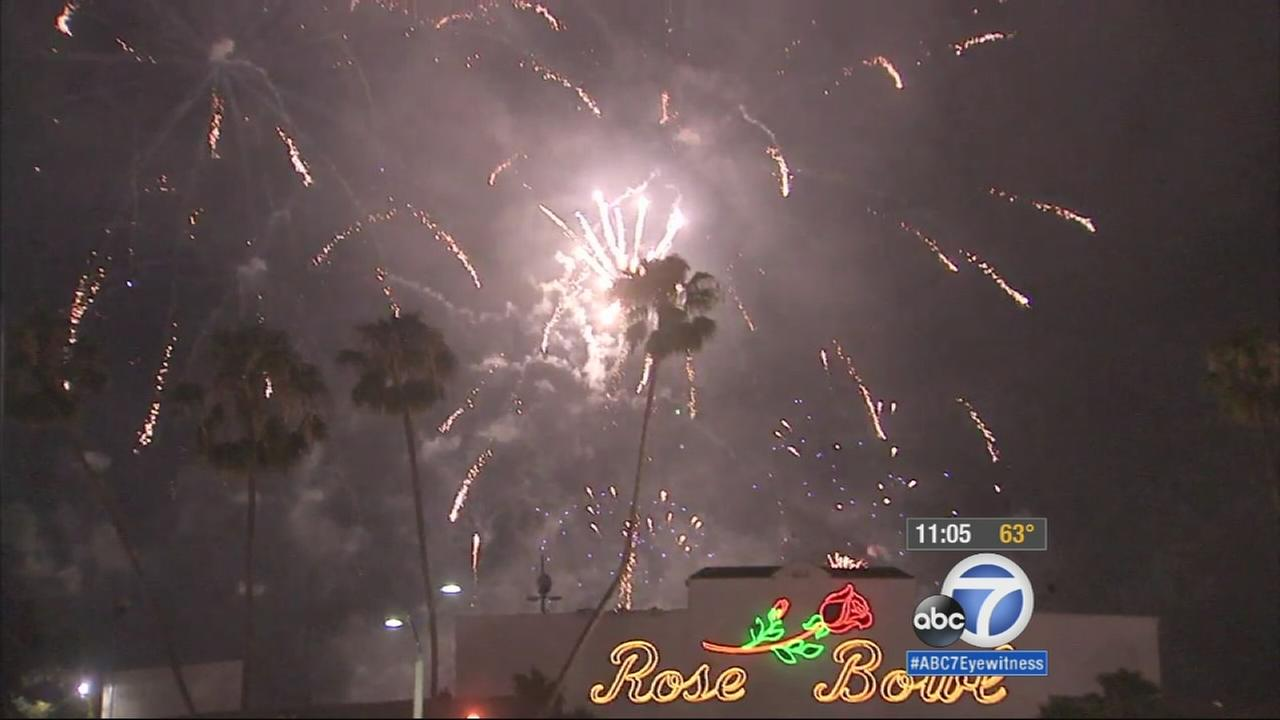 More than 90,000 people arrived Saturday to watch the fireworks at the Rose Bowl in Pasadena.