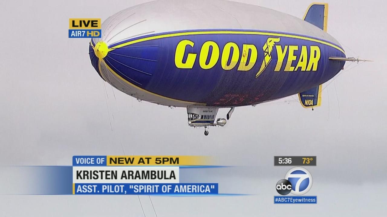 The Spirit of America Goodyear blimp is shown during an interview with AIR7 HDs Bill Thomas on Wednesday, July 8, 2015.