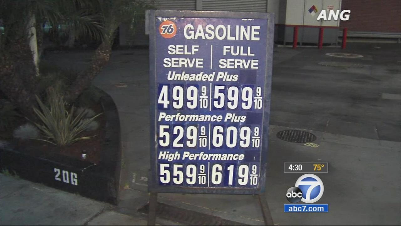 Gas prices continue to spike over the weekend, with the average price at $3.79 a gallon in Los Angeles County.