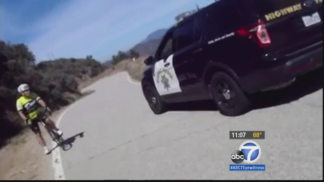 An avid cyclist hopes to raise awareness about the vulnerability of bicyclists after a close encounter with a California Highway Patrol officers vehicle.