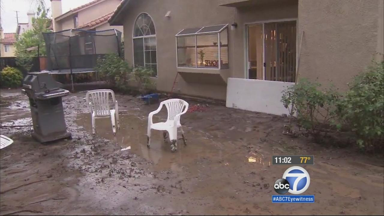 A rare summer storm sent mudslides into several homes in Moreno Valley on Sunday.