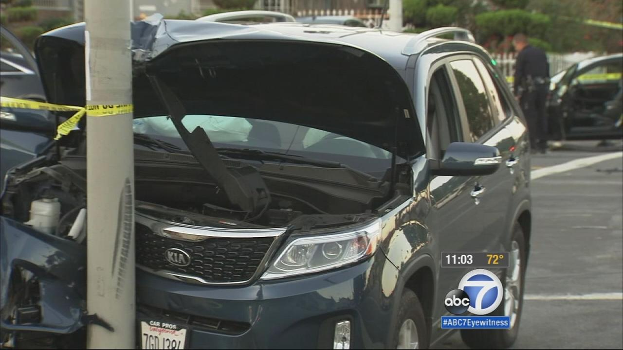 A man trying to flee from a shooting on Monday ended up crashing less than 1/4-mile away into two other vehicles in Leimert Park.
