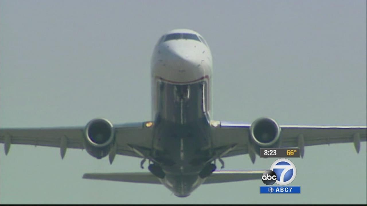 A plane taking off at Los Angeles International Airport is shown in this undated file photo.