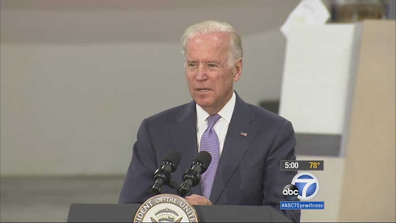 Vice President Joe Biden speaks at the Bobrick Washroom Equipment, Inc. factory in North Hollywood on Wednesday, July 22, 2015.