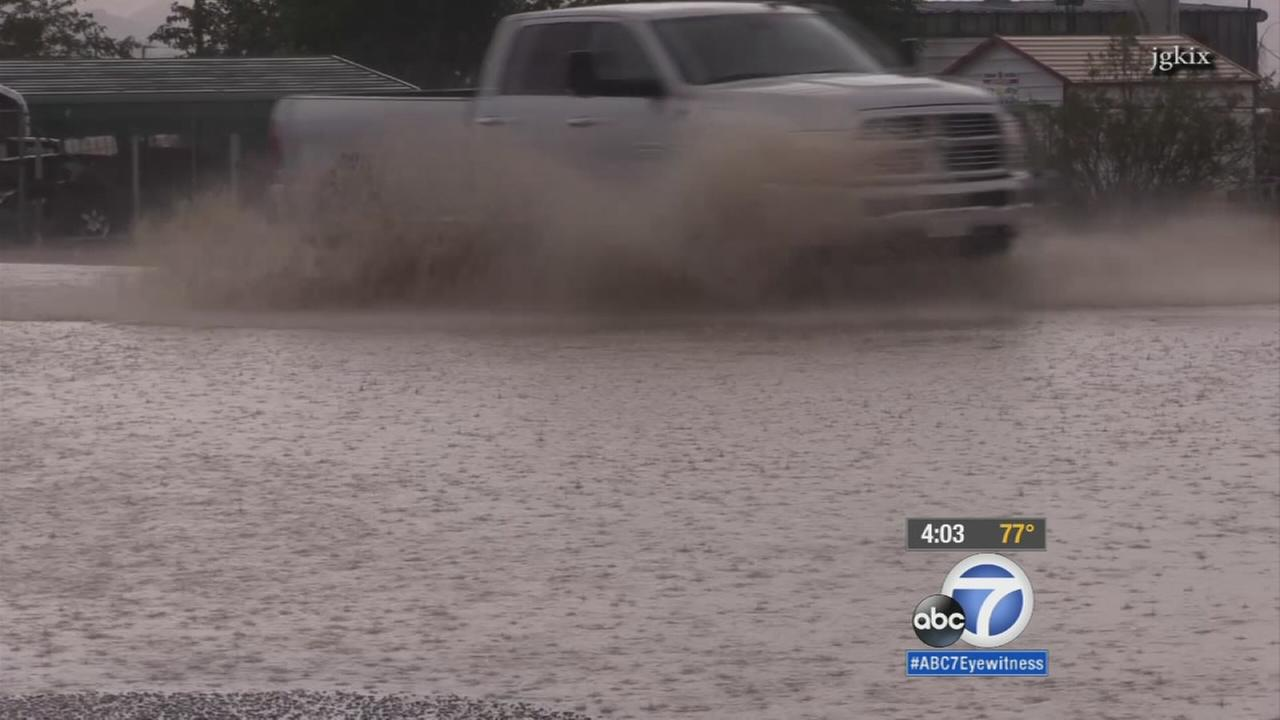 The high desert area was under a flash flood warning Wednesday as thunderstorms swept through the Southland.