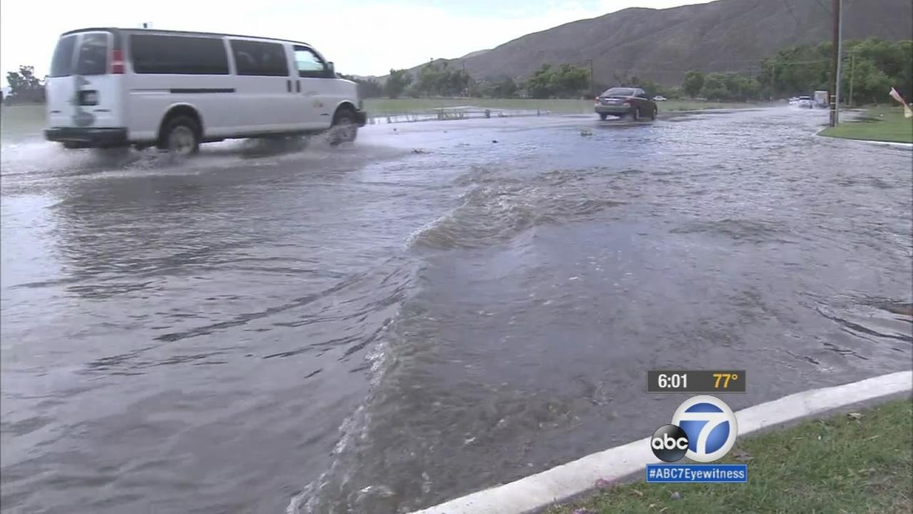 A severe weather system brought heavy rains and lightning to the Inland Empire on Wednesday.