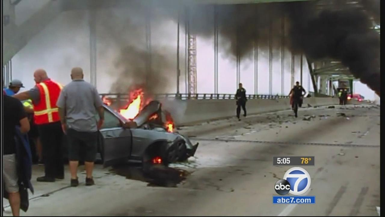 A wrong-way car crash that left one person dead shut down the Gerald Desmond Bridge in Long Beach Saturday morning.
