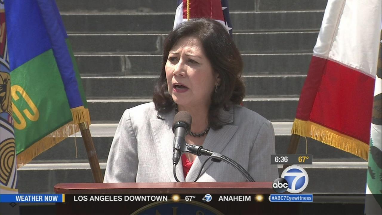 Los Angeles County Supervisor Hilda Solis speaks at a news conference in Los Angeles on Monday, Aug. 4, 2015.