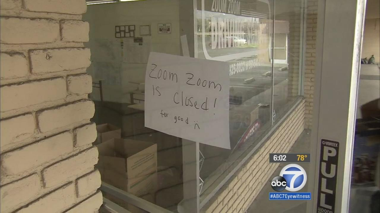 A sign stating the Zoom Zoom Driving School in Hemet is closed for good on Thursday, Aug. 6, 2015.