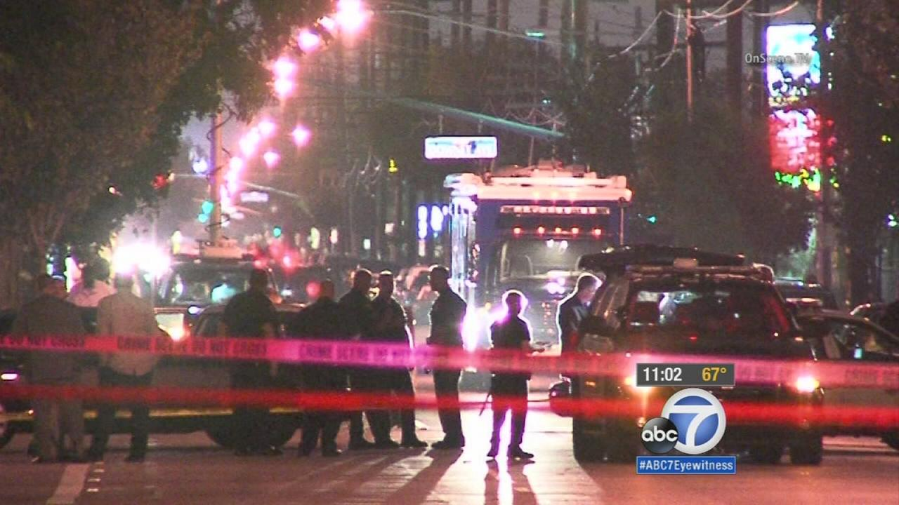 A man who allegedly stabbed multiple people was shot and killed by Long Beach police on Friday night.