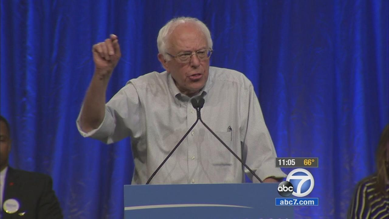 Thousands of people flooded into the Los Angeles Memorial Sports Arena Monday night for a chance to see Democratic presidential candidate Bernie Sanders.