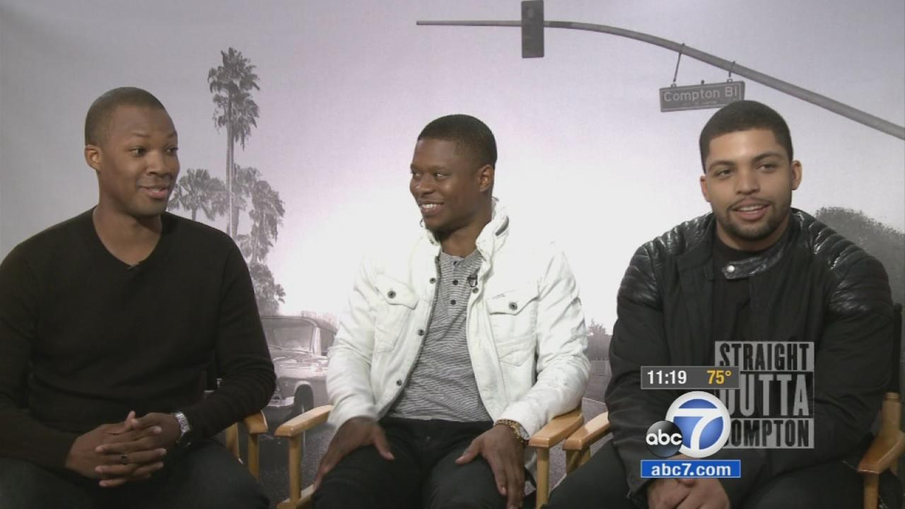 Straight Outta Compton actors Corey Hawkins, Jason Mitchell and Oshea Jackson Jr. are shown in an undated image.