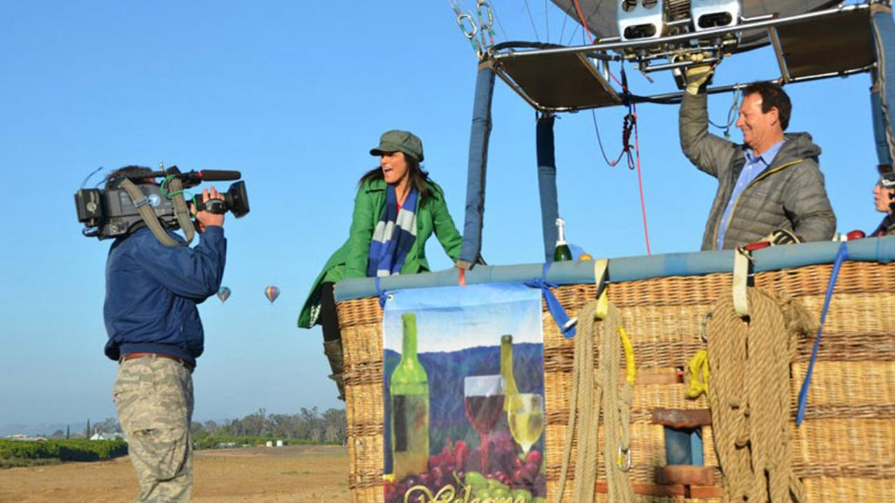 Tina Malave gets ready to ride a hot air balloon for a segment of Eye on L.A.