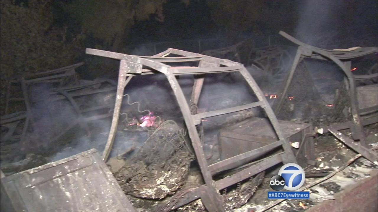 The charred remains of a burned structure at the Warm Springs Rehabilitation Facility near Castaic are shown on Sunday, Aug. 16, 2015.