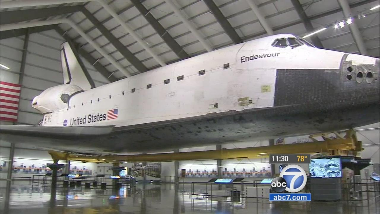 The Space Shuttle Endeavour is seen on display at the California Science Center on Wednesday, Aug. 19, 2015.