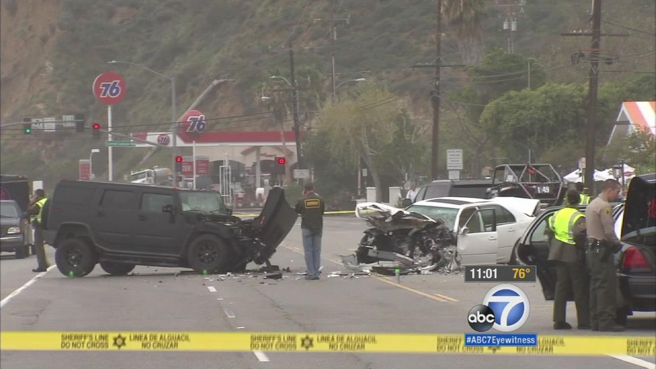 This photo shows the scene of a fatal car crash in Malibu on Saturday, Feb. 7, 2015.