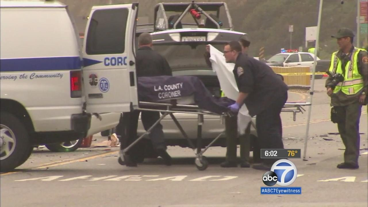 The fatal crash scene involving Caitlyn Jenner is shown above.