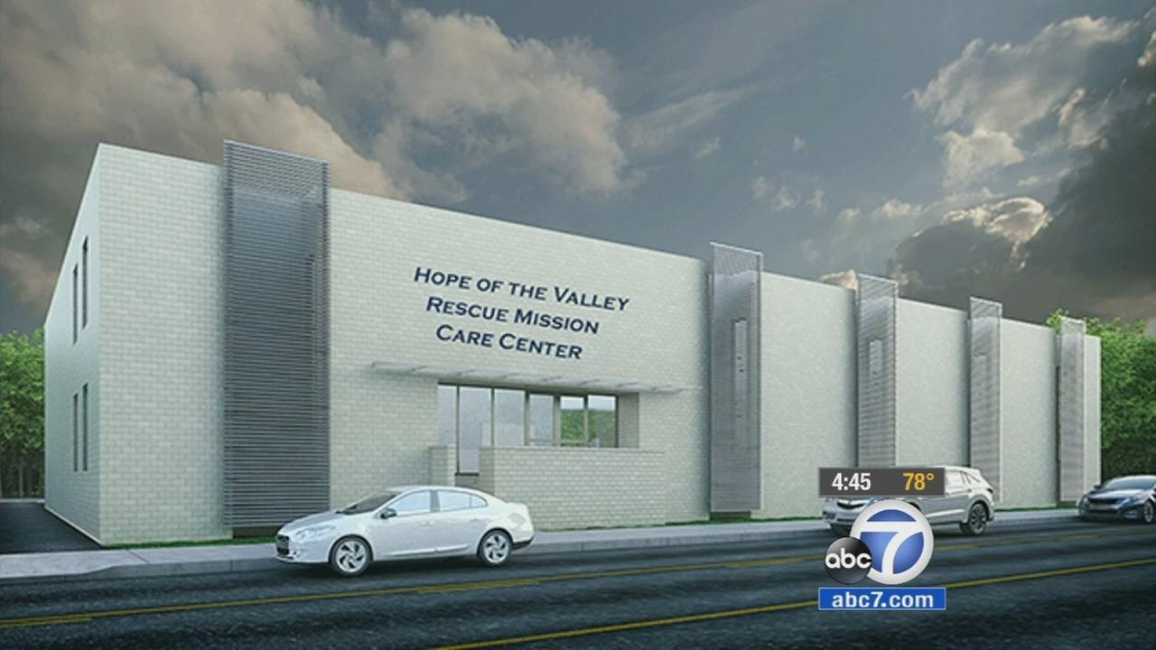 A rendering of the Hope of the Valley Rescue Mission Care Center is shown above.
