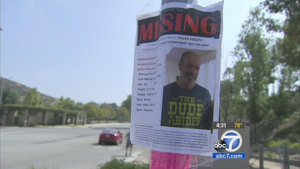 Fliers of missing retired Los Angeles County firefighter shown in an undated photo.