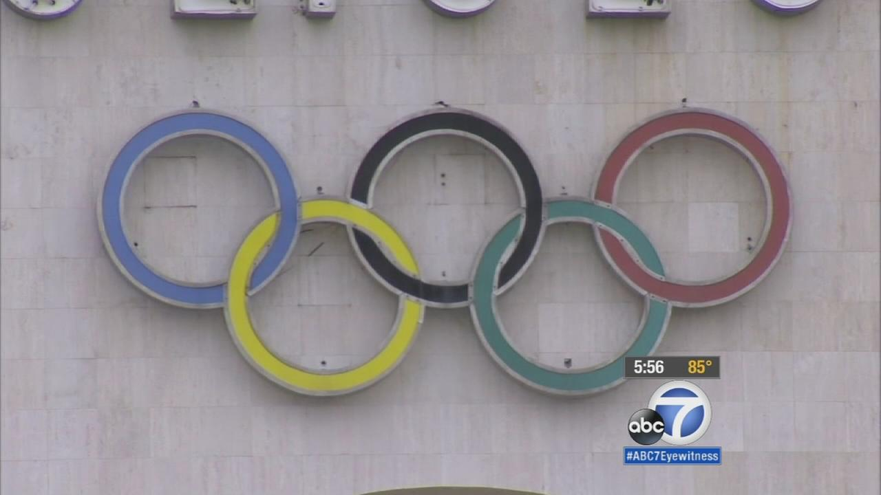 The Olympic rings are shown in this undated file photo.