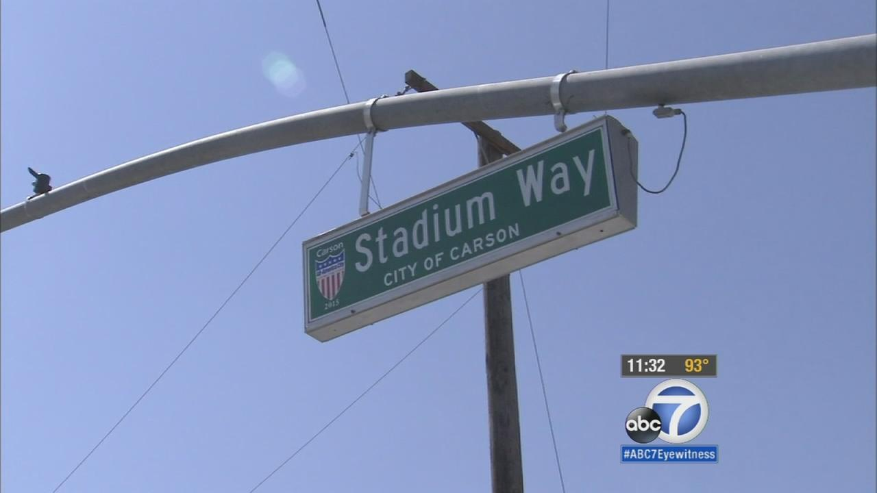 Carson city leaders unveiled a street sign that will lead to the proposed $1.78 billion NFL stadium on Aug. 28, 2015.
