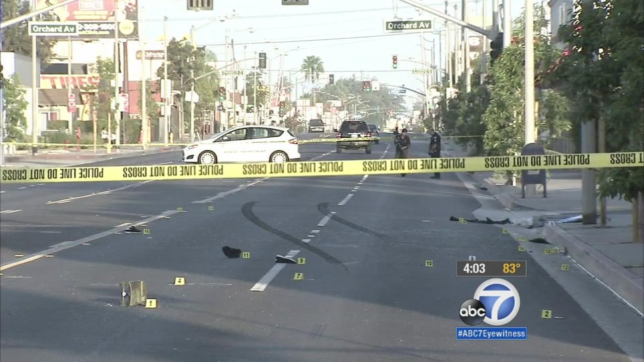 Authorities cordoned off an area where a 17-year-old man was killed by a hit-and-run driver.