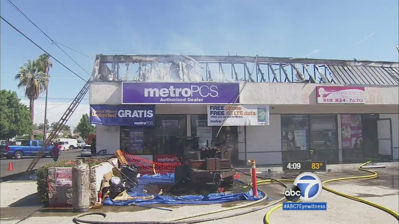 A portion of a building in a strip mall was damaged in a fire on Sunday, Aug. 30, 2015.
