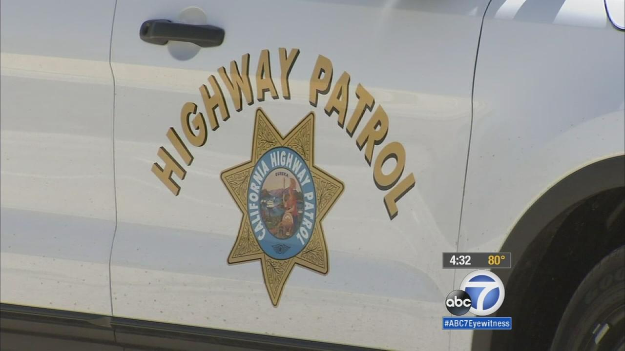 The emblem of the California Highway Patrol is shown on a squad car in an undated photo.