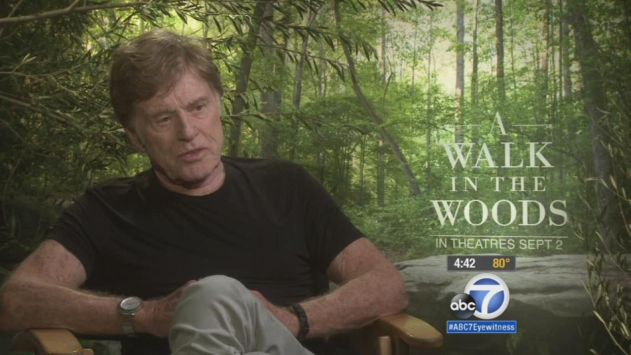 Robert Redford is shown during an interview for his latest movie A Walk in the Woods.