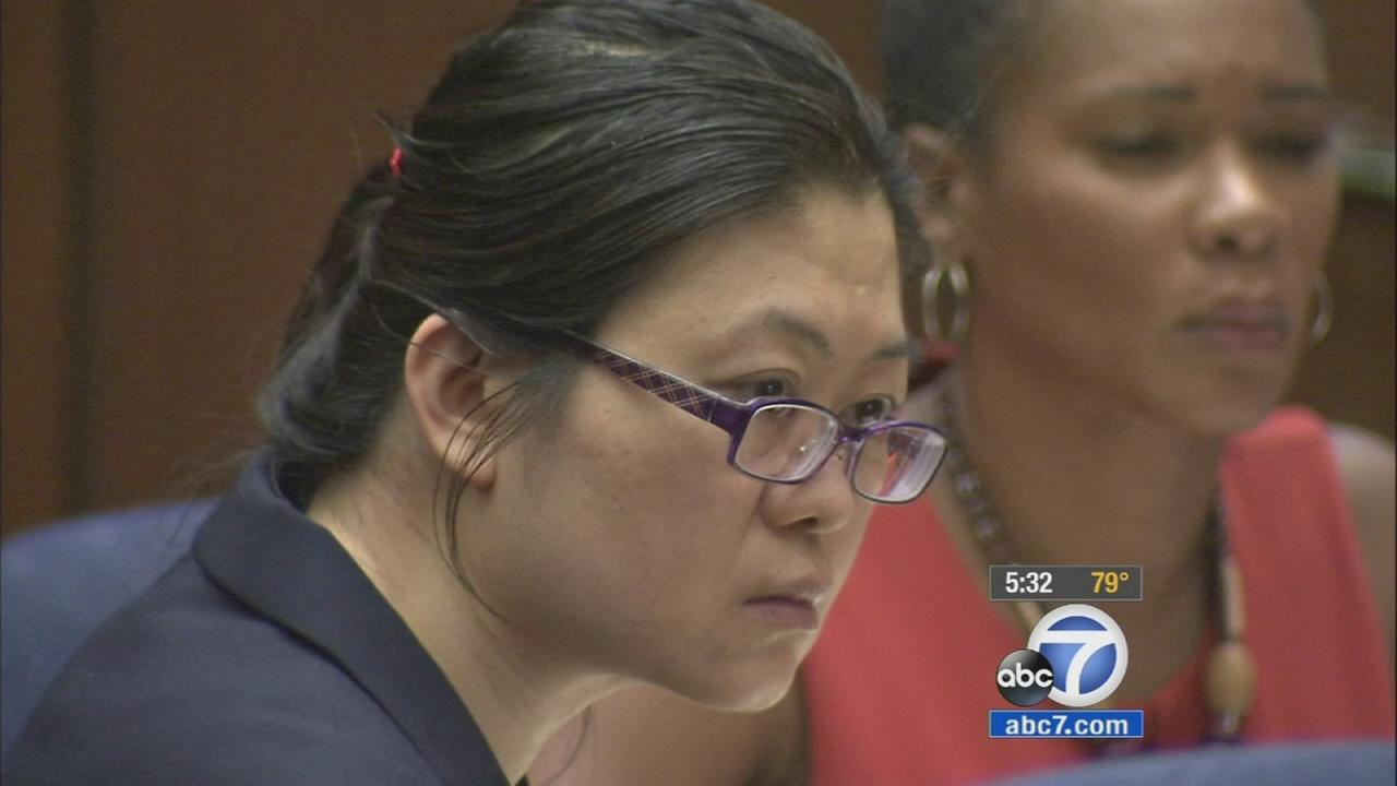 Dr. Lisa Tseng is shown in a Los Angeles courtroom facing 45 year to life in prison in the deaths of three patients on Monday, Aug. 31, 2015.