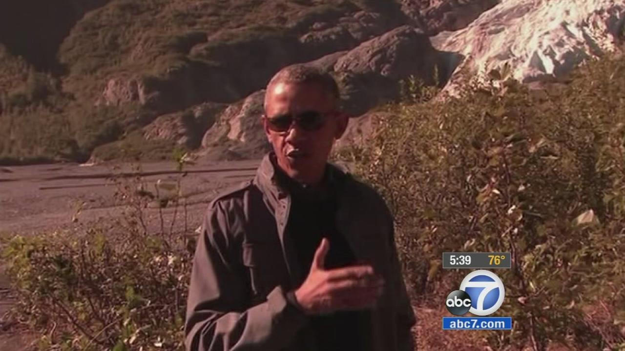 President Obama is shown during his visit to Alaska.