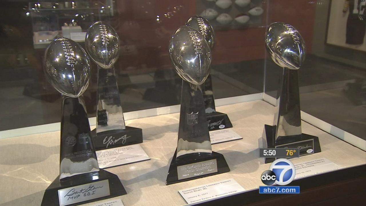 Heisman trophies are shown on display at the Football Exhibit at the Ronald Reagan Presidential Library in Simi Valley.