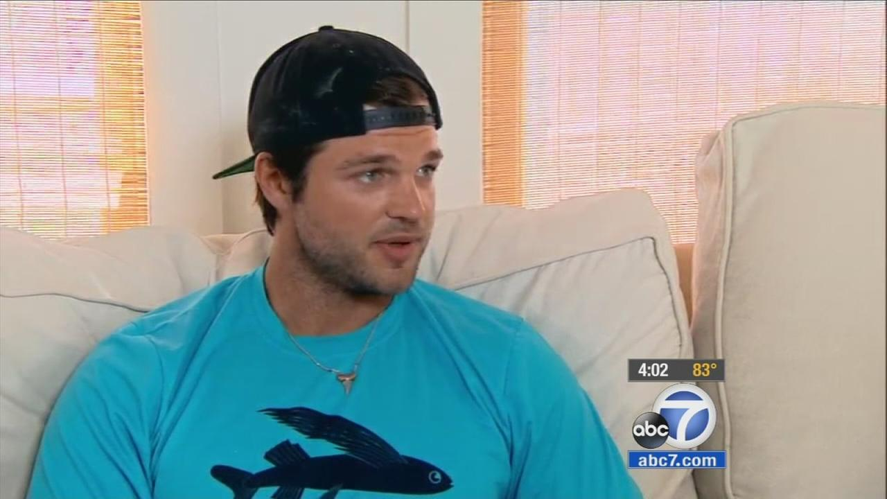 Shark bite victim Dylan Marks recalls his encounter with a large hammerhead shark off the coast of Malibu.